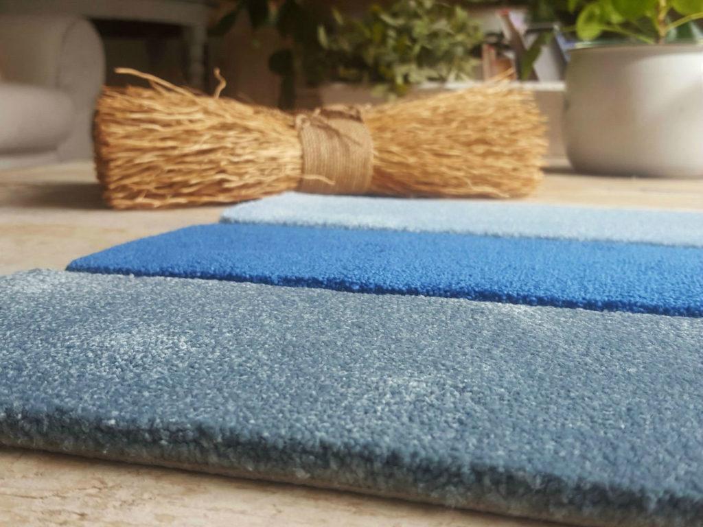 alfombra koi azul terminada al corte