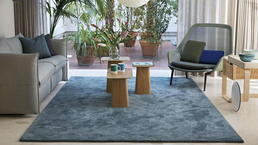alfombra musgo poliéster azul
