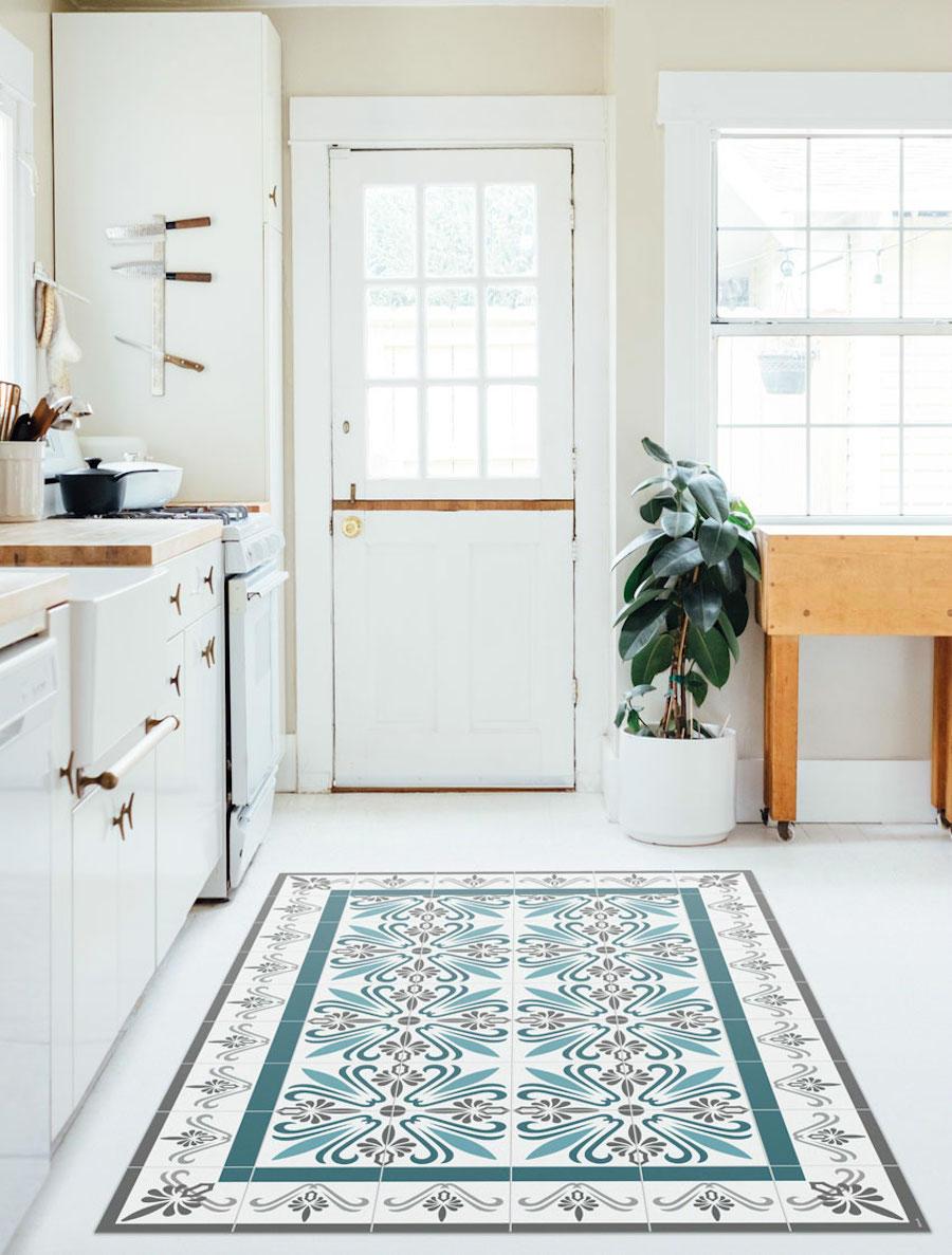 alfombra mosaico en cocina